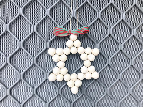 DIY Kit - Large Star Wood Bead Wall Hanging Ornament