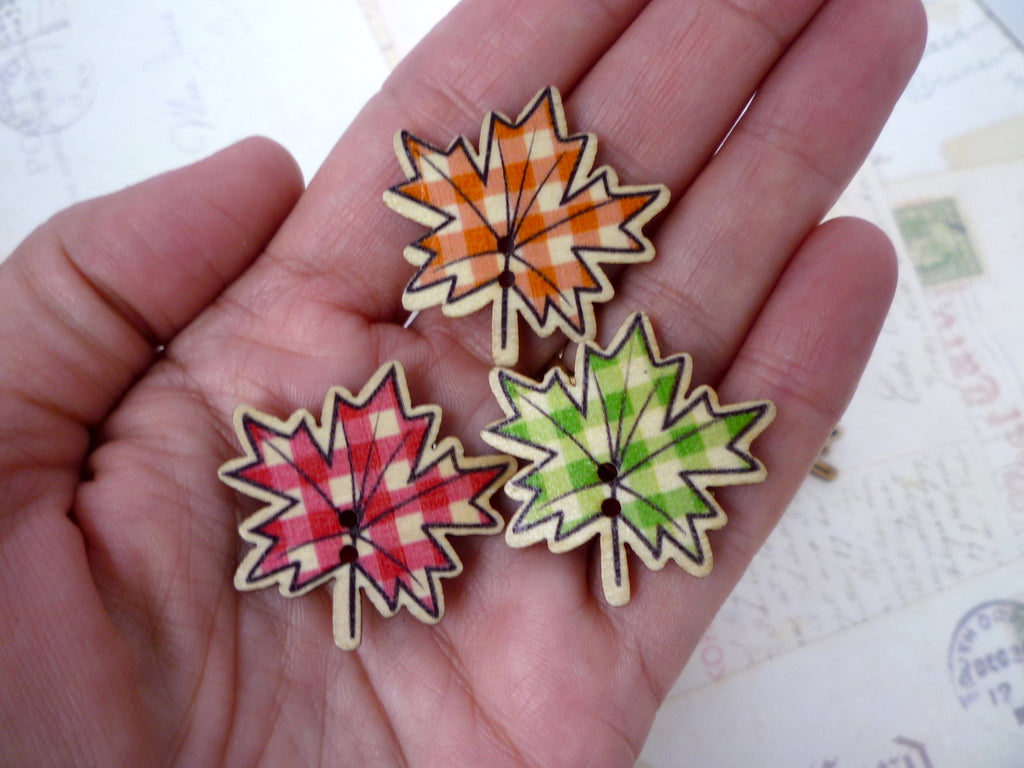 Autumn/Fall Leaf Wooden Buttons - 30mm - Two holes