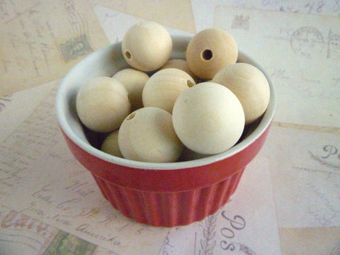 25mm Natural Round Wooden Beads