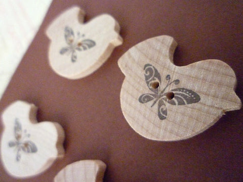 Wooden Bird Shaped Buttons - Butterfly Bird Collection