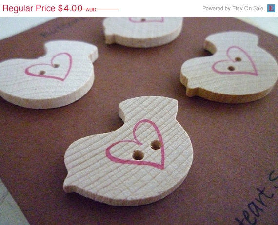 Wooden Bird Shaped Buttons - Love Bird Collection