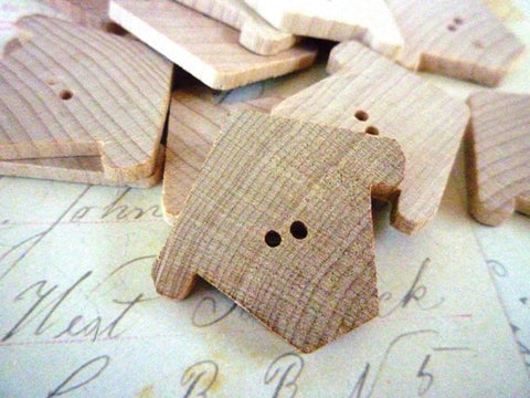 Birdhouse Shaped Wooden Buttons - Chickadee Chalet - Pack of 10