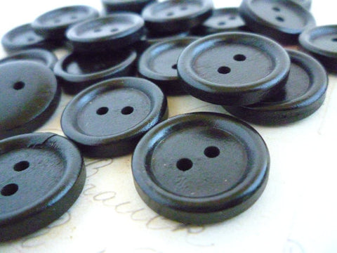 "3/4"" Brown/Black Coloured Wooden Buttons - Two holes (20mm)"