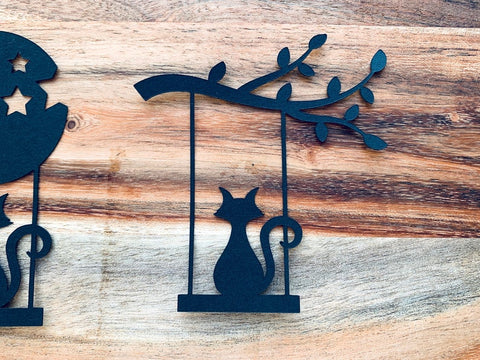 Black Cats Silhouettes on a Swing, Die Cuts