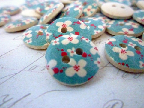 Blue Flower Wooden Buttons - 15mm - Two holes