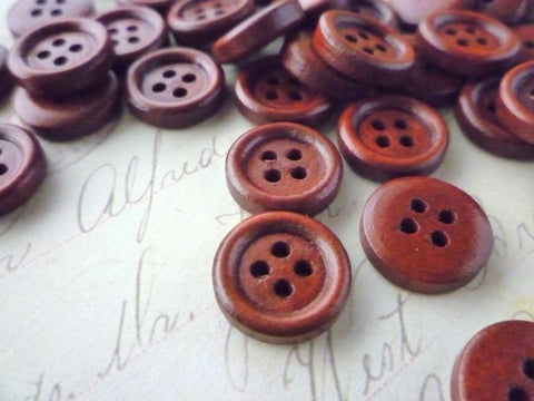 13mm Brown Wooden Buttons - 4 holes