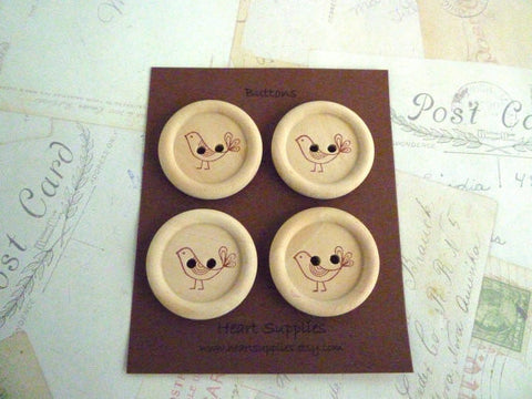 Stamped Button Bird Collection - BROWN - 35mm