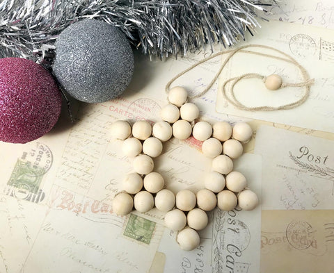 DIY Kit - Wooden Bead Christmas Star Ornament