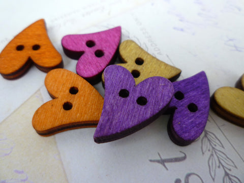 Curly Heart Shaped Coloured Wooden Buttons - Two holes