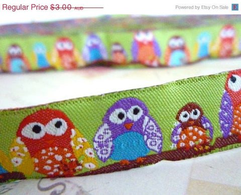 "Colourful Birds - Green - Jacquard Ribbon - 5/8"" x 1 yard"