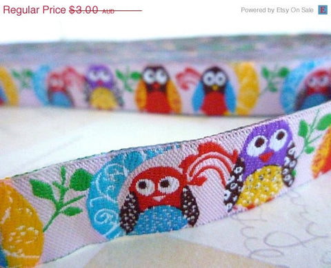 "Colourful Birds - Pink - Jacquard Ribbon - 5/8"" x 1 yard"