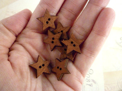 Wooden Star Buttons Dark Wood - Two holes