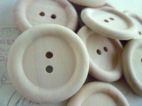 Extra Large Wooden Buttons - Two holes (35mm)