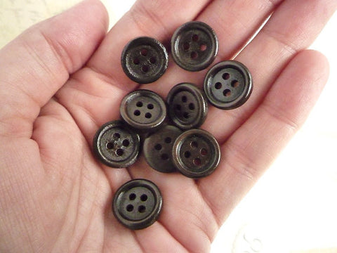 "1/2"" Dark Wooden Buttons - 4 holes (15mm)"