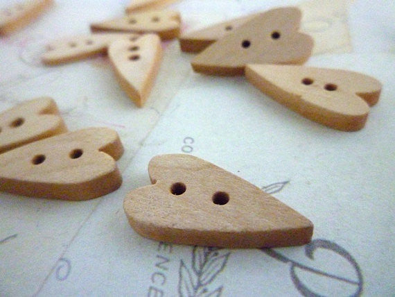 Heart Shaped Straight Natural Wooden Buttons - Two holes
