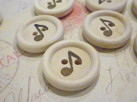 "3/4"" Wooden Buttons - Stamped Music Note Collection - Pack of 10"