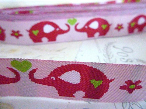 "Pink Elephants - Jacquard Ribbon - 5/8"" x 1 yard"