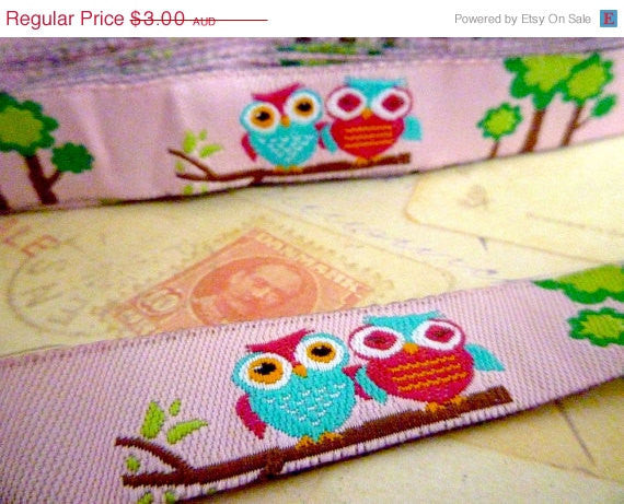 "Owls on Pink - Jacquard Ribbon - 5/8"" x 1 yard"