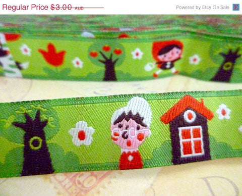 "Little Red Riding Hood - Jacquard Ribbon - 5/8"" x 1 yard"