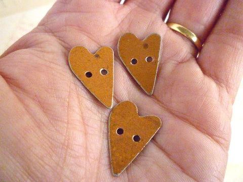 Metal Button - Small Rusty Heart Buttons - Pack of 6