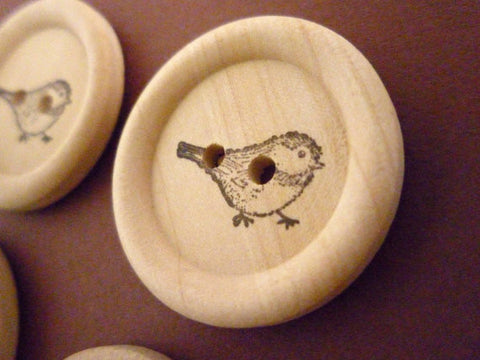 Stamped Buttons Sparrow Collection - 30mm
