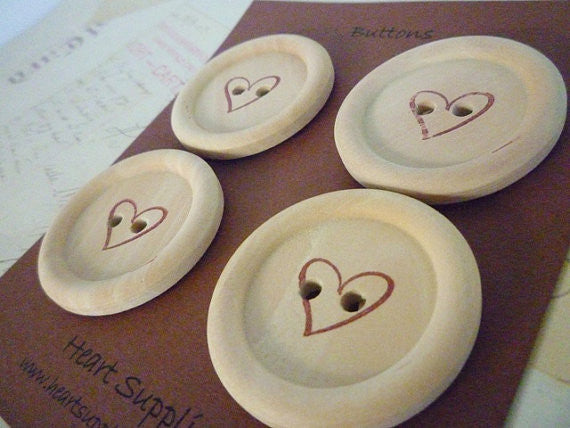 Stamped Button Heart Collection - 35mm