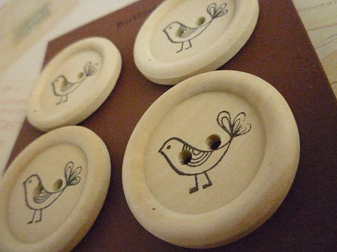 Stamped Button Bird Collection - 35mm