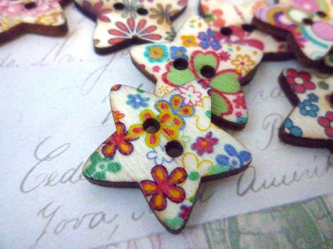 Star Flower Wooden Buttons - 25mm - Two holes
