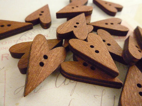 Heart Shaped Straight Dark Wooden Buttons - Two holes