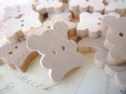 Teddy Bear Wooden Buttons - Pack of 10