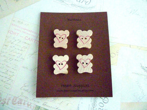 Wooden Teddy Bear Buttons - Teddy Love Stamped Collection