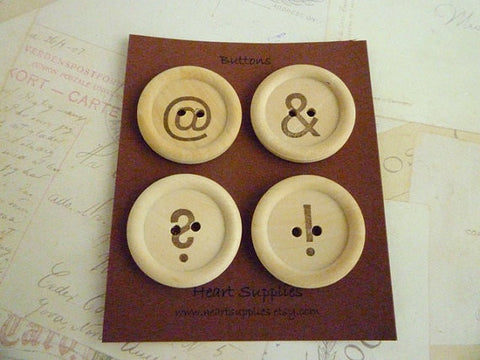Wooden Buttons - Stamped Typo Collection - 35mm