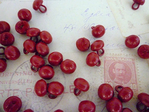 Vintage Metal Dome Buttons - Red