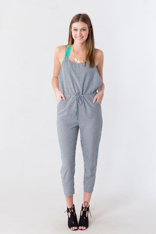 Black Check Gingham Jumpsuit at Entourage