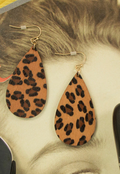Cats Eyes Earrings Cheetah Print in Brown