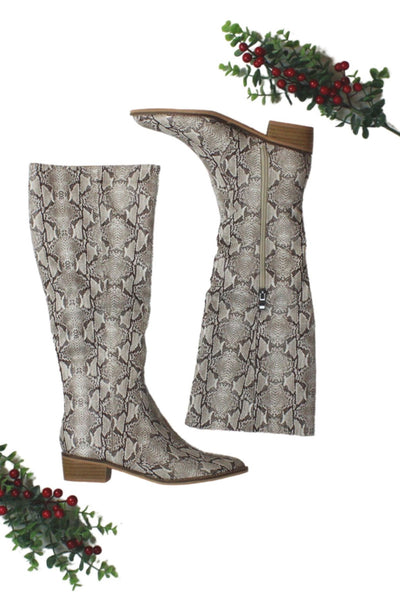 Sexy Snake Print Boots in Brown