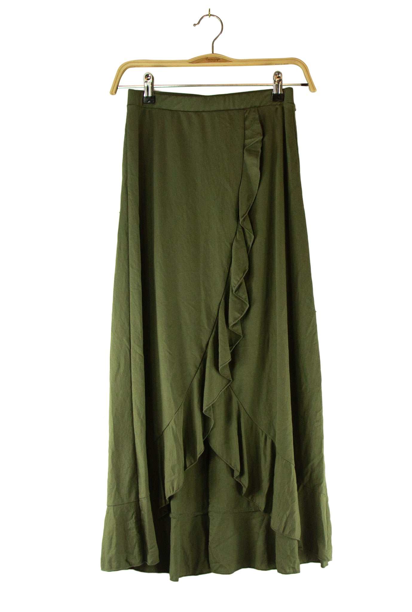 Ruffle Me Not Skirt in Dark Green