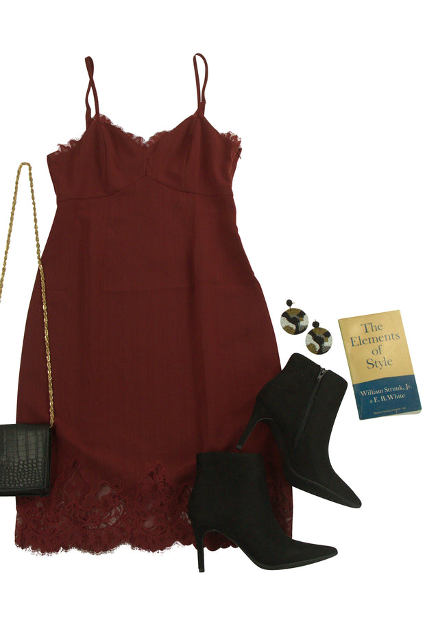 Fascination Dress in Dark Red
