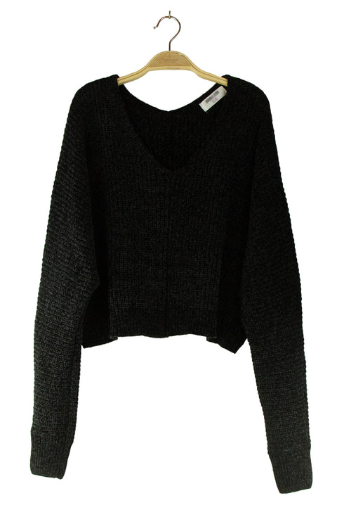 Spice It Up Crop Sweater in Black