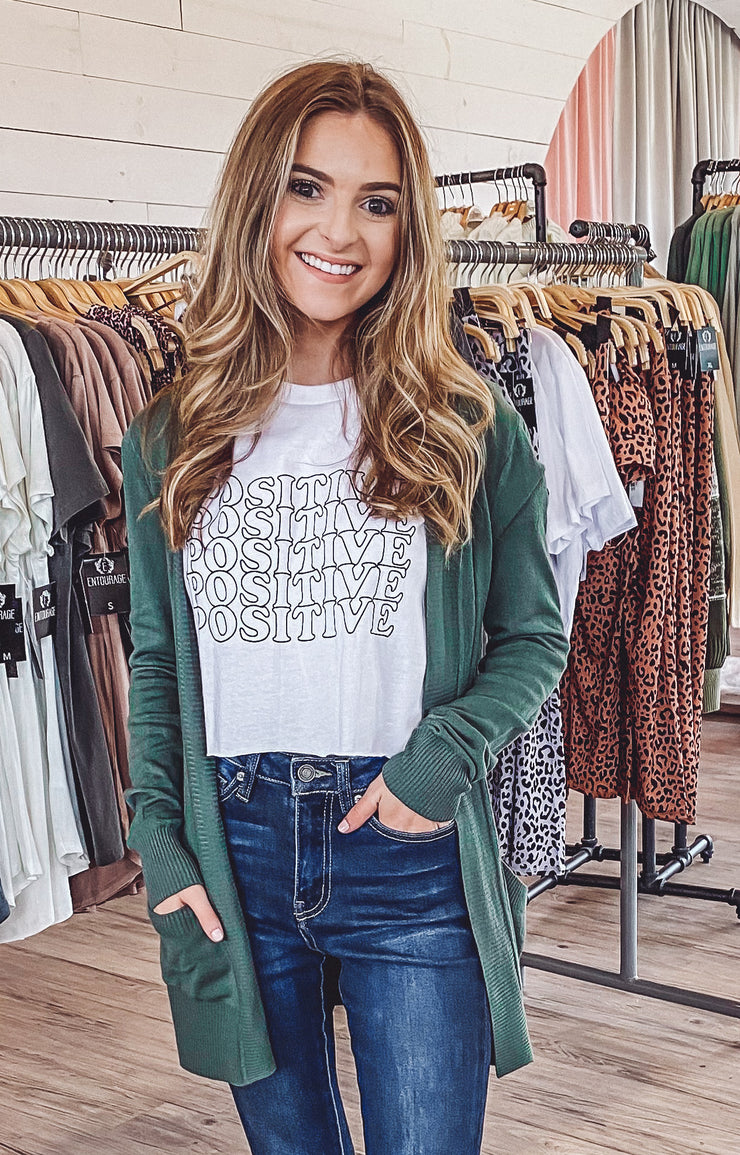 No Sweat Cardigan in Dark Green