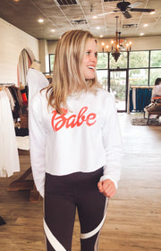 Ultimate Babe Crop Sweatshirt in White