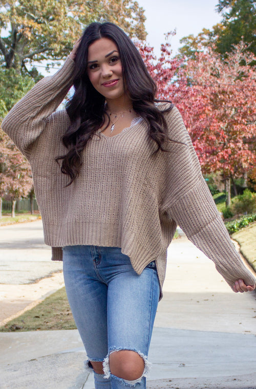 Forget Me Never Sweater in Brown