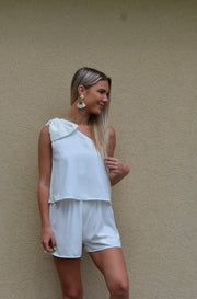 Put a Bow On It Romper in Off White