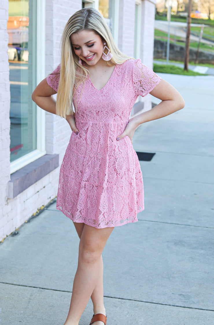 Aligned Dress in Pink