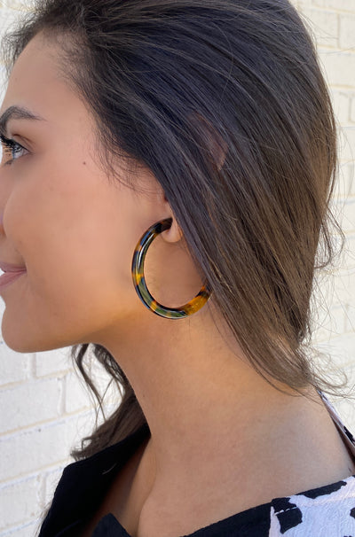 Playing Hoops Earrings in Brown