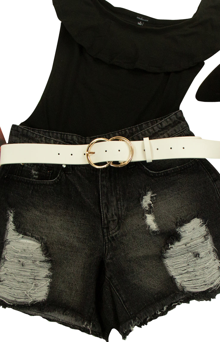 Buckle Up Belt in White