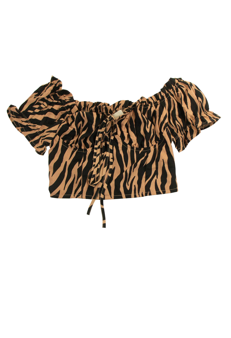 A to Zebra Top in Brown
