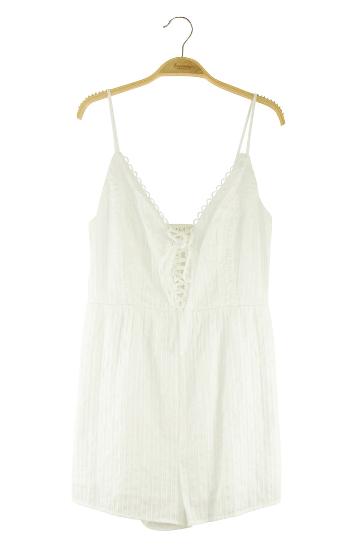On the Right Track Romper in White