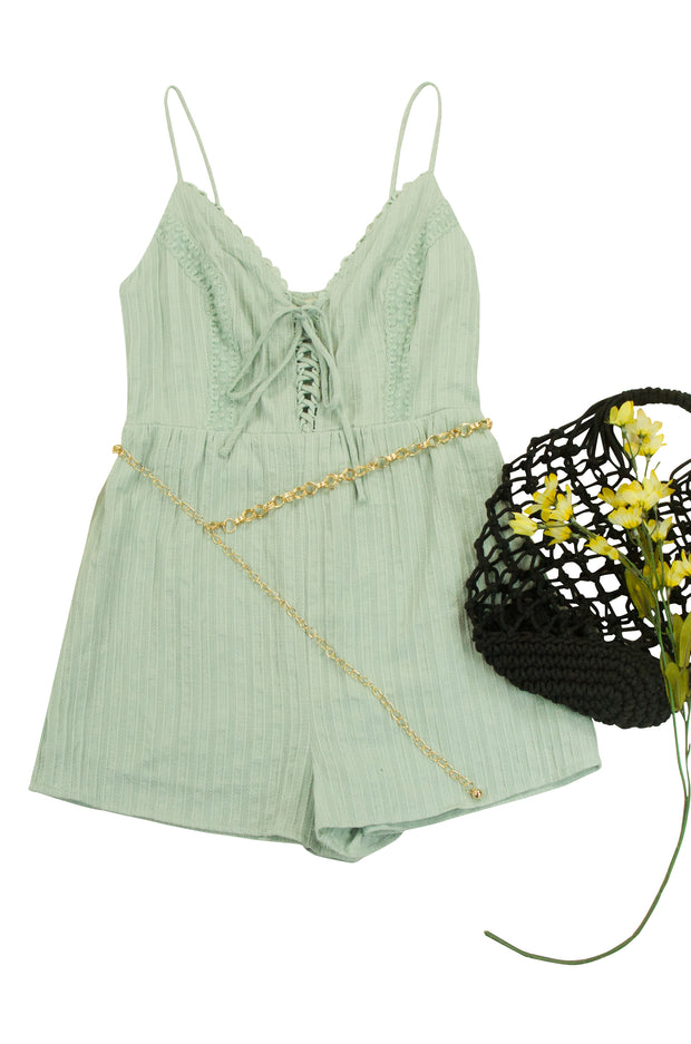 On the Right Track Romper in Light Green