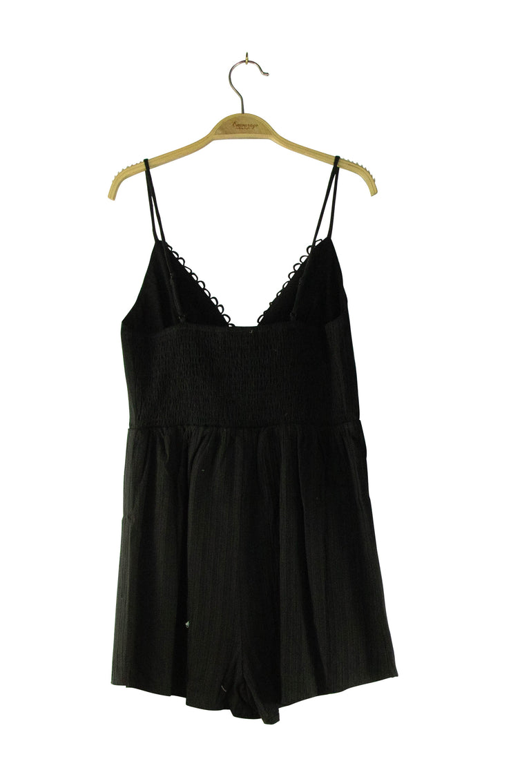 On the Right Track Romper in Black